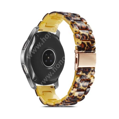 HUAWEI Watch GT 2 46mm Okosóra műanyag szíj - LEOPÁRD MINTÁS - csatos, 189mm hosszú, 22mm széles, 160-220mm-es méretű csuklóig ajánlott - SAMSUNG Galaxy Watch 46mm / Watch GT2 46mm / Watch GT 2e / Galaxy Watch3 45mm / Honor MagicWatch 2 46mm