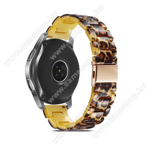 Okosóra műanyag szíj - LEOPÁRD MINTÁS - csatos, 189mm hosszú, 22mm széles, 160-220mm-es méretű csuklóig ajánlott - SAMSUNG Galaxy Watch 46mm / Watch GT2 46mm / Watch GT 2e / Galaxy Watch3 45mm / Honor MagicWatch 2 46mm