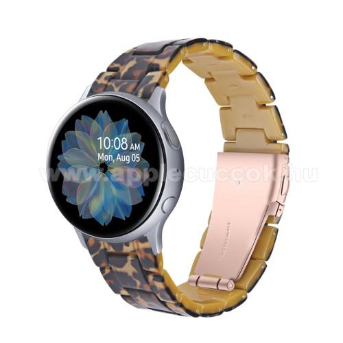 Okosóra műanyag szíj - LEOPÁRD MINTÁS - pillangó csat - 192mm hosszú, 20mm széles, 145-200mm-es méretű csuklóig ajánlott - SAMSUNG Galaxy Watch 42mm / Amazfit GTS / Galaxy Watch3 41mm / HUAWEI Watch GT 2 42mm / Galaxy Watch Active / Active 2