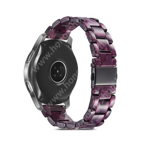HUAWEI Watch GT 2 46mm Okosóra műanyag szíj - LILA - csatos, 189mm hosszú, 22mm széles, 160-220mm-es méretű csuklóig ajánlott - SAMSUNG Galaxy Watch 46mm / Watch GT2 46mm / Watch GT 2e / Galaxy Watch3 45mm / Honor MagicWatch 2 46mm