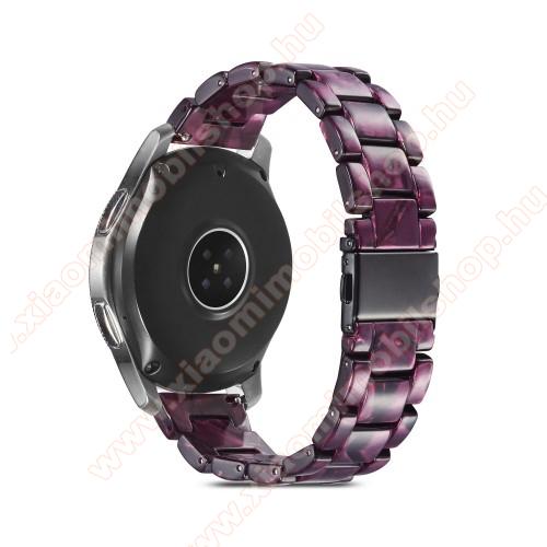 Okosóra műanyag szíj - LILA - csatos, 189mm hosszú, 22mm széles, 160-220mm-es méretű csuklóig ajánlott - SAMSUNG Galaxy Watch 46mm / Watch GT2 46mm / Watch GT 2e / Galaxy Watch3 45mm / Honor MagicWatch 2 46mm