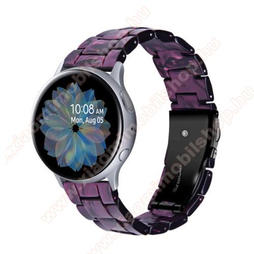 Okosóra műanyag szíj - LILA / FEKETE - pillangó csat - 192mm hosszú, 20mm széles, 145-200mm-es méretű csuklóig ajánlott - SAMSUNG Galaxy Watch 42mm / Amazfit GTS / Galaxy Watch3 41mm / HUAWEI Watch GT 2 42mm / Galaxy Watch Active / Active 2