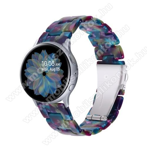 Okosóra műanyag szíj - LILA / ZÖLD - pillangó csat - 192mm hosszú, 20mm széles, 145-200mm-es méretű csuklóig ajánlott - SAMSUNG Galaxy Watch 42mm / Amazfit GTS / Galaxy Watch3 41mm / HUAWEI Watch GT 2 42mm / Galaxy Watch Active / Active 2