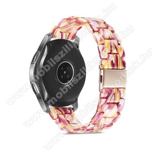 Okosóra műanyag szíj - RÓSZASZÍN / SÁRGA - csatos, 189mm hosszú, 22mm széles, 160-220mm-es méretű csuklóig ajánlott - SAMSUNG Galaxy Watch 46mm / Watch GT2 46mm / Watch GT 2e / Galaxy Watch3 45mm / Honor MagicWatch 2 46mm