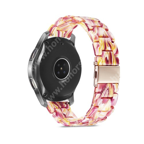 HUAWEI Watch GT 2 46mm Okosóra műanyag szíj - RÓSZASZÍN / SÁRGA - csatos, 189mm hosszú, 22mm széles, 160-220mm-es méretű csuklóig ajánlott - SAMSUNG Galaxy Watch 46mm / Watch GT2 46mm / Watch GT 2e / Galaxy Watch3 45mm / Honor MagicWatch 2 46mm