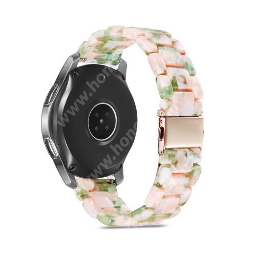 HUAWEI Watch GT 2 46mm Okosóra műanyag szíj - RÓSZASZÍN / ZÖLD - csatos, 189mm hosszú, 22mm széles, 160-220mm-es méretű csuklóig ajánlott - SAMSUNG Galaxy Watch 46mm / Watch GT2 46mm / Watch GT 2e / Galaxy Watch3 45mm / Honor MagicWatch 2 46mm