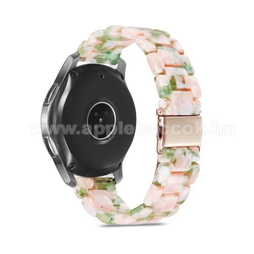 Okosóra műanyag szíj - RÓSZASZÍN / ZÖLD - csatos, 189mm hosszú, 22mm széles, 160-220mm-es méretű csuklóig ajánlott - SAMSUNG Galaxy Watch 46mm / Watch GT2 46mm / Watch GT 2e / Galaxy Watch3 45mm / Honor MagicWatch 2 46mm