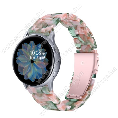 Okosóra műanyag szíj - RÓZSASZÍN / ZÖLD - pillangó csat - 192mm hosszú, 20mm széles, 145-200mm-es méretű csuklóig ajánlott - SAMSUNG Galaxy Watch 42mm / Amazfit GTS / Galaxy Watch3 41mm / HUAWEI Watch GT 2 42mm / Galaxy Watch Active / Active 2