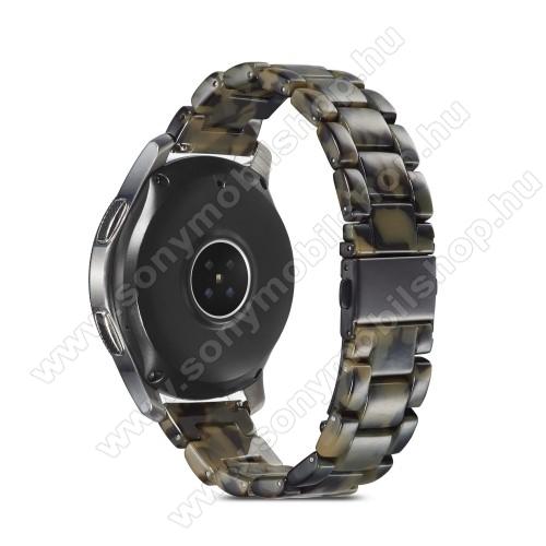 Okosóra műanyag szíj - SÖTÉTZÖLD - csatos, 189mm hosszú, 22mm széles, 160-220mm-es méretű csuklóig ajánlott - SAMSUNG Galaxy Watch 46mm / Watch GT2 46mm / Watch GT 2e / Galaxy Watch3 45mm / Honor MagicWatch 2 46mm