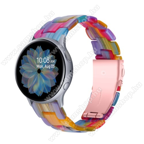 Okosóra műanyag szíj - SZÍNES - pillangó csat - 192mm hosszú, 20mm széles, 145-200mm-es méretű csuklóig ajánlott - SAMSUNG Galaxy Watch 42mm / Amazfit GTS / Galaxy Watch3 41mm / HUAWEI Watch GT 2 42mm / Galaxy Watch Active / Active 2