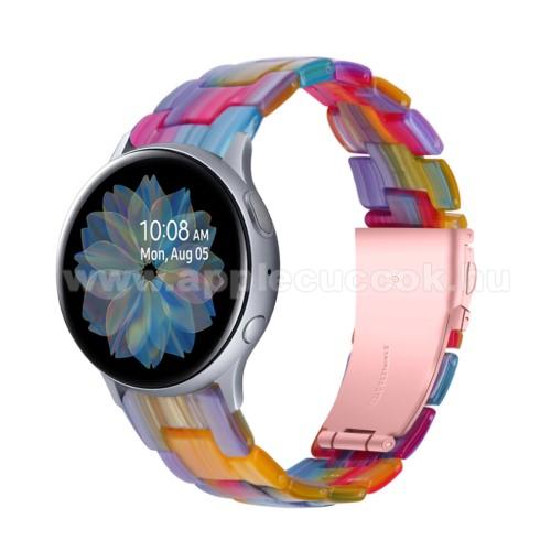 Okosóra műanyag szíj - SZÍNES - pillangó csat - 192mm hosszú, 20mm széles, 145-200mm-es méretű csuklóig ajánlott - SAMSUNG Galaxy Watch 42mm / Amazfit GTS / Galaxy Watch3 41mm / HUAWEI Watch GT 2 42mm / Galaxy Watch Active / Active 2