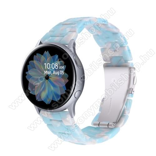 Okosóra műanyag szíj - VILÁGOSKÉK / FEHÉR - pillangó csat - 192mm hosszú, 20mm széles, 145-200mm-es méretű csuklóig ajánlott - SAMSUNG Galaxy Watch 42mm / Amazfit GTS / Galaxy Watch3 41mm / HUAWEI Watch GT 2 42mm / Galaxy Watch Active / Active 2