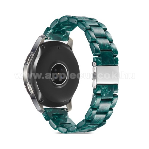 Okosóra műanyag szíj - ZÖLD - csatos, 189mm hosszú, 22mm széles, 160-220mm-es méretű csuklóig ajánlott - SAMSUNG Galaxy Watch 46mm / Watch GT2 46mm / Watch GT 2e / Galaxy Watch3 45mm / Honor MagicWatch 2 46mm