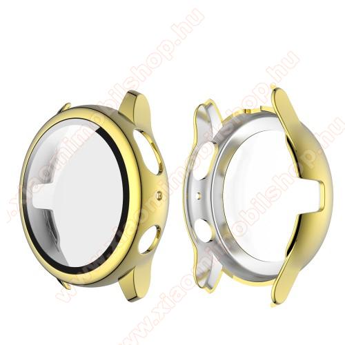 Okosóra műanyag védő tok / keret - ARANY - 9H edzett üveg előlap védő is! - SAMSUNG Galaxy Watch Active2 40mm