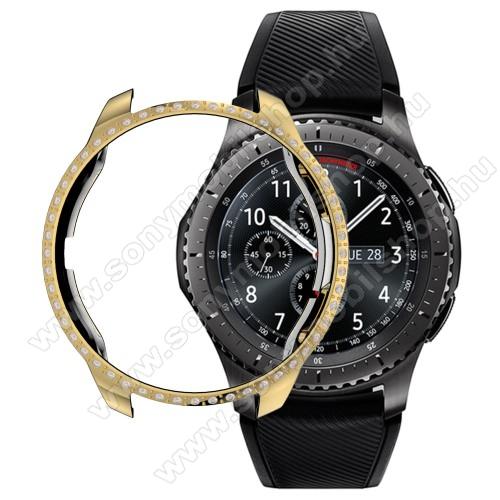 Okosóra műanyag védő tok / keret - ARANY - strasszkővel díszített - SAMSUNG SM-R810NZ Galaxy Watch 42mm