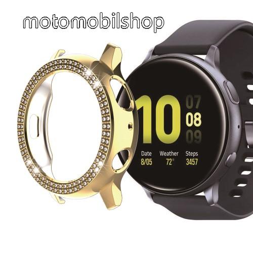 Okosóra műanyag védő tok / keret - ARANY - Strassz kővel díszített - SAMSUNG Galaxy Watch Active2 44mm