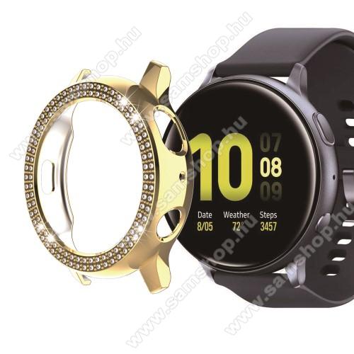Okosóra műanyag védő tok / keret - ARANY - Strassz kővel díszített - SAMSUNG Galaxy Watch Active2 40mm