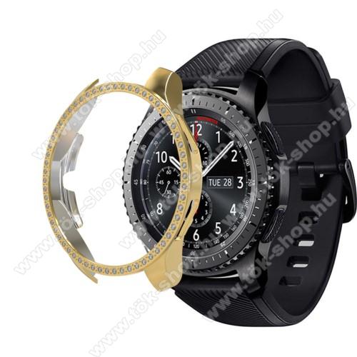 Okosóra műanyag védő tok / keret - ARANY - Strassz kővel díszített - SAMSUNG Galaxy Watch 46mm / SAMSUNG Gear S3 Frontier