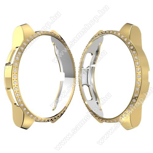 Okosóra műanyag védő tok / keret - ARANY - Strassz kővel díszített - SAMSUNG SM-R810NZ Galaxy Watch 42mm