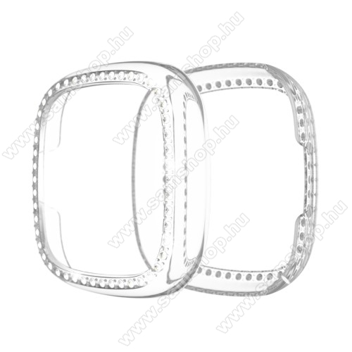 Okosóra műanyag védő tok / keret - ÁTLÁTSZÓ - Strasszkővel díszített - Fitbit Versa 3 / Fitbit Sense