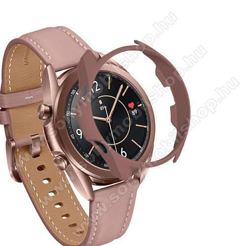 Okosóra műanyag védő tok / keret - BARNA - SAMSUNG Galaxy Watch3 45mm (SM-R845F)