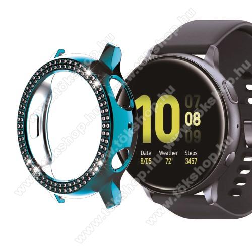 Okosóra műanyag védő tok / keret - CYAN - Strassz kővel díszített - SAMSUNG Galaxy Watch Active2 44mm