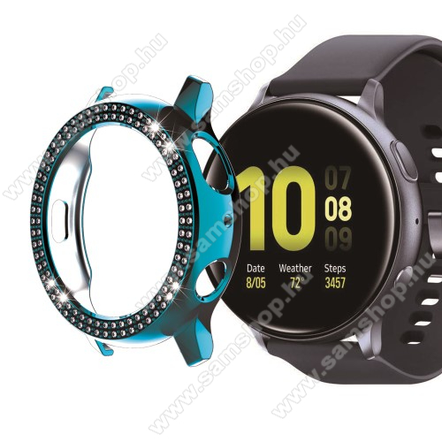 Okosóra műanyag védő tok / keret - CYAN - Strassz kővel díszített - SAMSUNG Galaxy Watch Active2 40mm