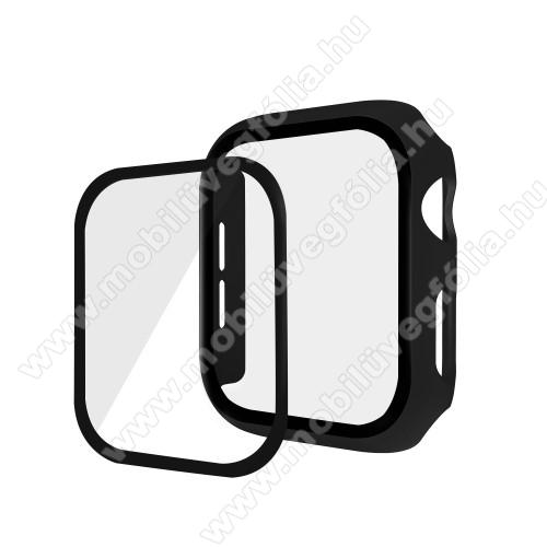 Okosóra műanyag védő tok / keret - Előlap védő karcálló edzett üveg - 1db, 9H, 3D - A TELJES ELŐLAPOT VÉDI! - FEKETE - Apple Watch Series 5 40mm / Apple Watch Series 4 40mm