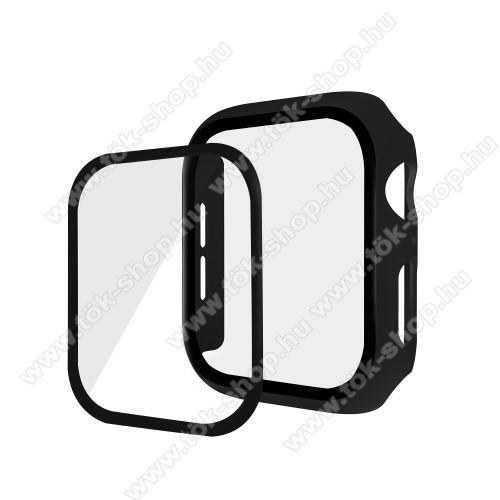Okosóra műanyag védő tok / keret - Előlap védő karcálló edzett üveg - 1db, 9H, 3D - A TELJES ELŐLAPOT VÉDI! - FEKETE - Apple Watch Series 5 44mm / Apple Watch Series 4 44mm