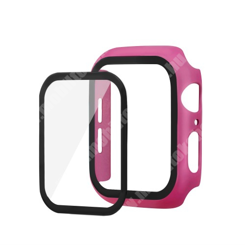 Okosóra műanyag védő tok / keret - Előlap védő karcálló edzett üveg - 1db, 9H, 3D - A TELJES ELŐLAPOT VÉDI! - MAGENTA - Apple Watch Series 5 44mm / Apple Watch Series 4 44mm