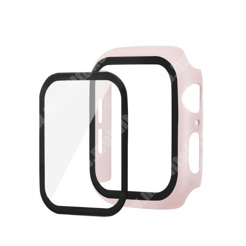 Okosóra műanyag védő tok / keret - Előlap védő karcálló edzett üveg - 1db, 9H, 3D - A TELJES ELŐLAPOT VÉDI! - RÓZSASZÍN - Apple Watch Series 5 44mm / Apple Watch Series 4 44mm