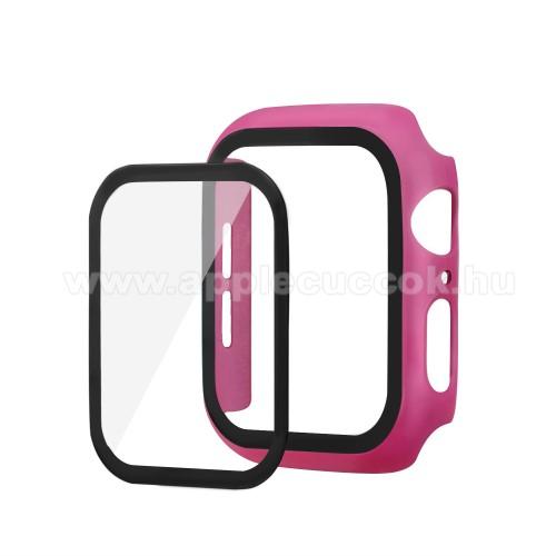 APPLE Watch SE 40mmOkosóra műanyag védő tok / keret - Előlap védő karcálló edzett üveg - 1db, 9H, 3D - A TELJES ELŐLAPOT VÉDI! - RÓZSASZÍN - Apple Watch Series 5 40mm / Apple Watch Series 4 40mm