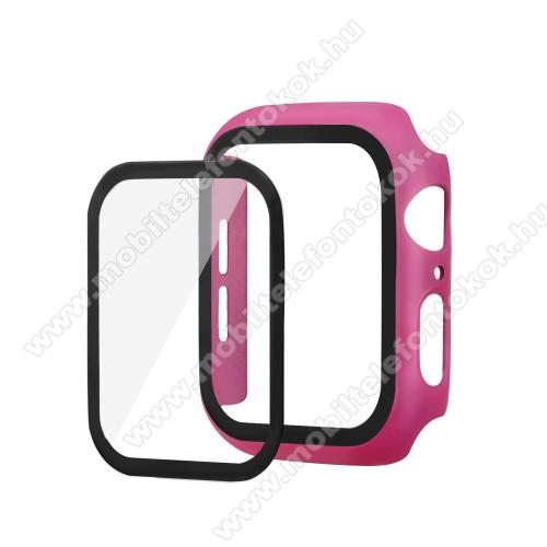 APPLE Watch Series 6 40mmOkosóra műanyag védő tok / keret - Előlap védő karcálló edzett üveg - 1db, 9H, 3D - A TELJES ELŐLAPOT VÉDI! - RÓZSASZÍN - Apple Watch Series 5 40mm / Apple Watch Series 4 40mm