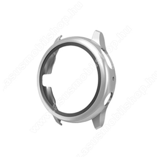 Okosóra műanyag védő tok / keret - EZÜST - 9H edzett üveg előlap védő is! - SAMSUNG Galaxy Watch Active2 40mm