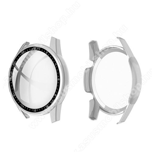 Okosóra műanyag védő tok / keret - EZÜST - 9H edzett üveg előlap védő is! - HUAWEI Watch GT 2 46mm