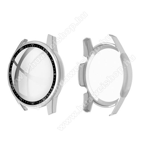HUAWEI Watch GT 2 46mmOkosóra műanyag védő tok / keret - EZÜST - 9H edzett üveg előlap védő is! - HUAWEI Watch GT 2 46mm