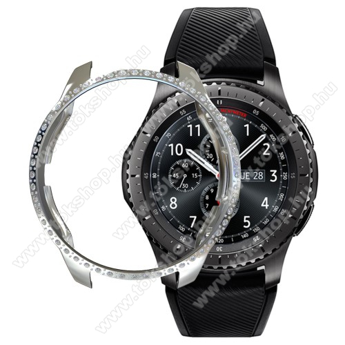 Okosóra műanyag védő tok / keret - EZÜST - strasszkővel díszített - SAMSUNG SM-R810NZ Galaxy Watch 42mm