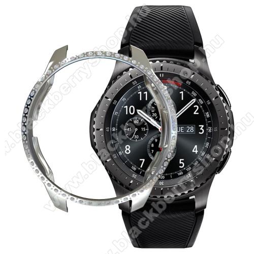 Okosóra műanyag védő tok / keret - EZÜST - Strassz köves minta - SAMSUNG SM-R810NZ Galaxy Watch 42mm