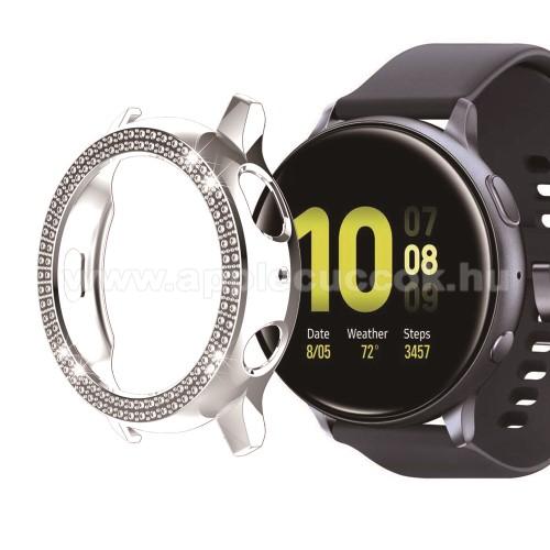 Okosóra műanyag védő tok / keret - EZÜST - Strassz kővel díszített - SAMSUNG Galaxy Watch Active2 40mm
