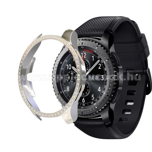 Okosóra műanyag védő tok / keret - EZÜST - Strassz kővel díszített - SAMSUNG Galaxy Watch 46mm / SAMSUNG Gear S3 Frontier