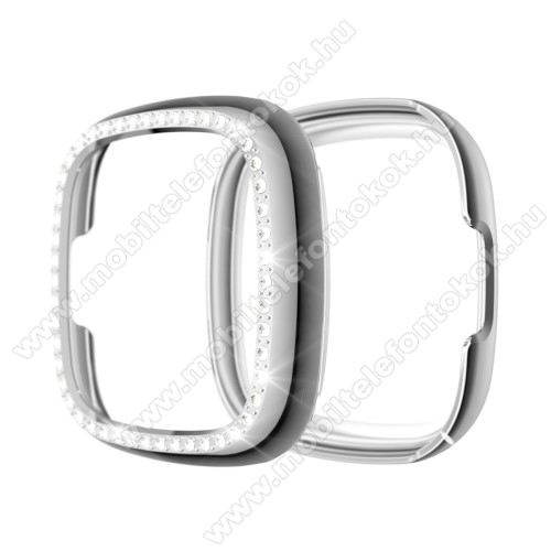Fitbit Versa 3Okosóra műanyag védő tok / keret - EZÜST - Strasszkővel díszített - Fitbit Versa 3 / Fitbit Sense