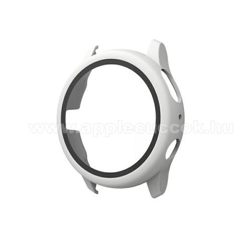 Okosóra műanyag védő tok / keret - FEHÉR - 9H edzett üveg előlap védő is! - SAMSUNG Galaxy Watch Active2 40mm