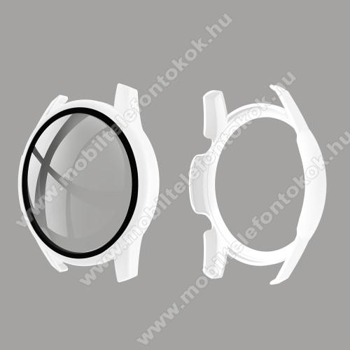 Okosóra műanyag védő tok / keret - FEHÉR - 9H edzett üveg előlap védő is! - HUAWEI Watch GT 2 46mm