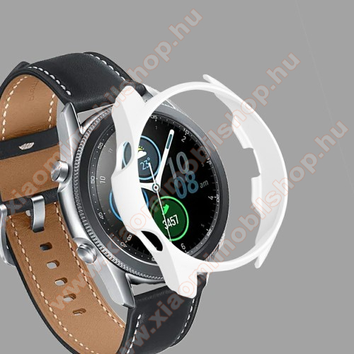 Okosóra műanyag védő tok / keret - FEHÉR - SAMSUNG Galaxy Watch3 45mm (SM-R845F)