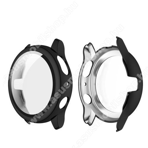 Okosóra műanyag védő tok / keret - FEKETE - 9H edzett üveg előlap védő is! - SAMSUNG Galaxy Watch Active2 44mm