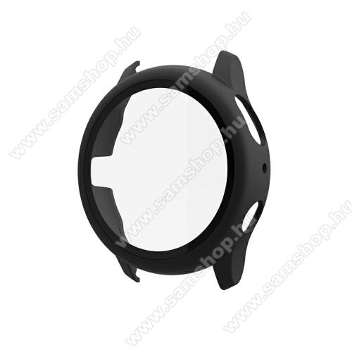 Okosóra műanyag védő tok / keret - FEKETE - 9H edzett üveg előlap védő is! - SAMSUNG Galaxy Watch Active2 40mm
