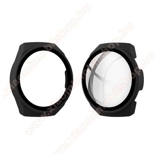 Okosóra műanyag védő tok / keret - FEKETE - 9H edzett üveg előlap védő is! - HUAWEI Watch GT 2e