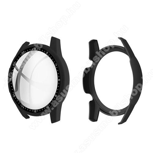 Okosóra műanyag védő tok / keret - FEKETE - 9H edzett üveg előlap védő is! - HUAWEI Watch GT 2 46mm