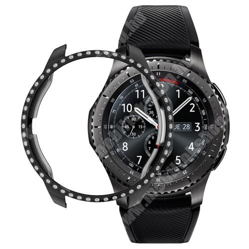 Okosóra műanyag védő tok / keret - FEKETE - strasszkővel díszített - SAMSUNG SM-R810NZ Galaxy Watch 42mm