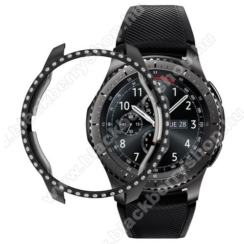 Okosóra műanyag védő tok / keret - FEKETE - Strassz köves minta - SAMSUNG SM-R810NZ Galaxy Watch 42mm